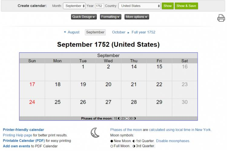 september 1752 calendar screenshot