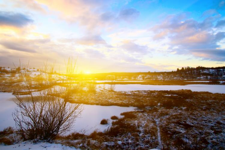 Partially snowy winter tundra landscape with sun on the horizon