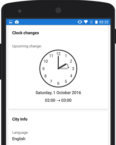 World Clock App Screenshot: See upcoming DST switches for cities around the world