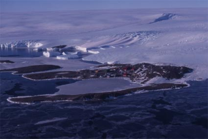 Mawson Station from the air, showing Horseshoe Harbour