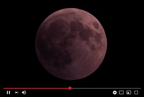 Screenshot of live streamed lunar eclipse on Youtube.