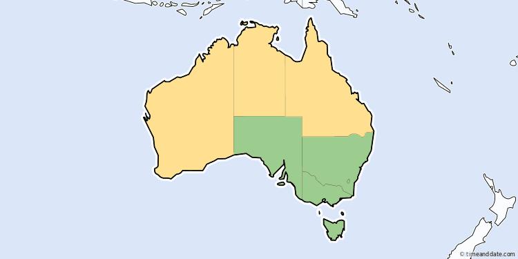 Australia Map States And Territories.Daylight Saving Time 2019 In Australia