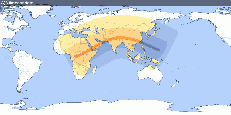 Total Eclipse Map 2020 Annular Solar Eclipse on June 21, 2020