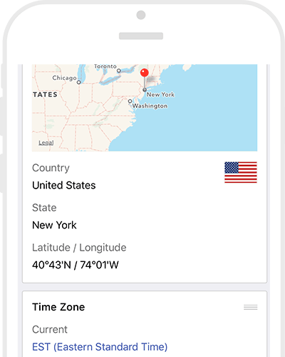 World Clock App City Information: Location Map & Lat Long, State / Province / County, Dial Codes, Country Flags, Currency & Languages & Time Zone