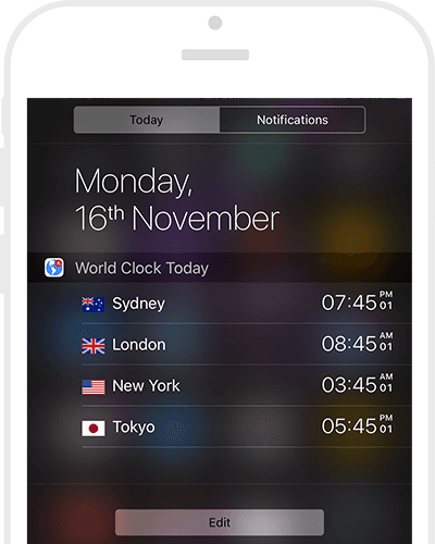 World Clocks in the today notifcation center widget