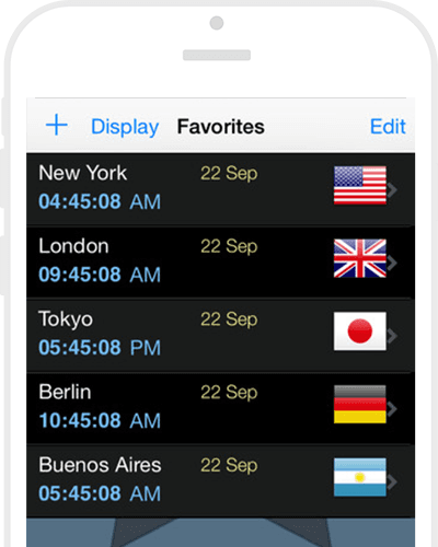 The world clocktime zones app for iphone ipad world cloc app feature tour gumiabroncs Images