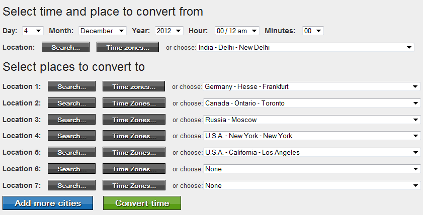 How to use the Time Zone Converter